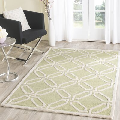 Martins Hand-Tufted Lime/Ivory Area Rug Rug Size: Rectangle 3 x 5