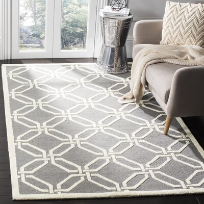 Martins Hand-Tufted Dark Gray/Ivory Area Rug Rug Size: Rectangle 5 x 8