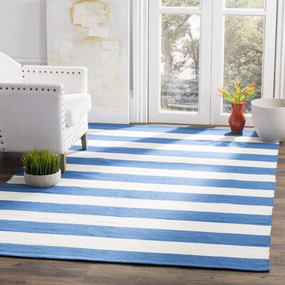 Brookvale Hand-Woven Cotton Blue/Ivory Area Rug Rug Size: Rectangle 4 x 6