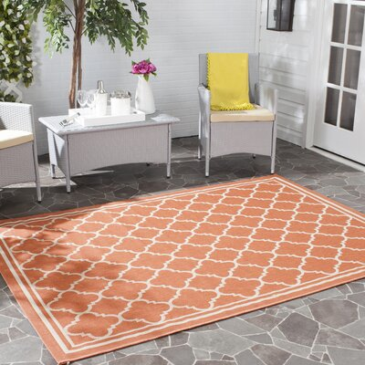 Octavius Orange Outdoor Area Rug Rug Size: Rectangle 53 x 77