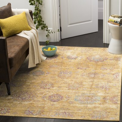 Sasha Gold Area Rug Rug Size: Rectangle 53 x 76