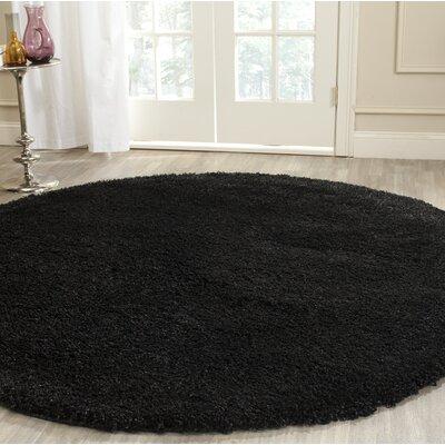 Rowen Black Area Rug Rug Size: Round 6'7