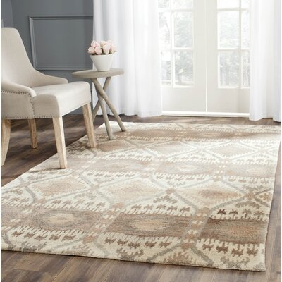 Roberts Hand-Tufted Beige/Gray Area Rug Rug Size: Rectangle 4 x 6