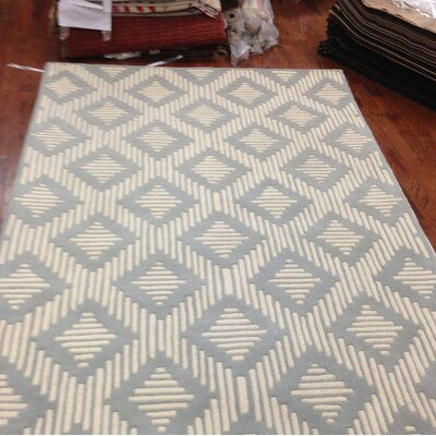 Wilkin Moroccan Hand-Tufted Wool Gray/Ivory Area Rug Rug Size: Rectangle 5 x 8