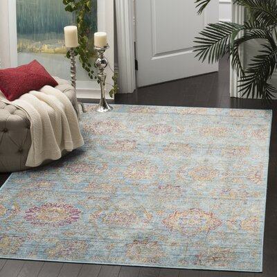 Sasha Blue/Orange Area Rug Rug Size: Rectangle 53 x 76