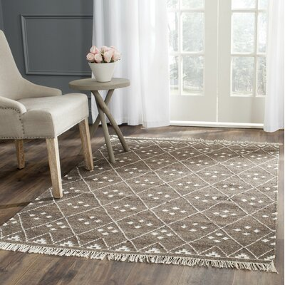Natural Kilim Hand-Woven/Flat-Woven Brown/Ivory Area Rug Rug Size: Rectangle 3 x 5