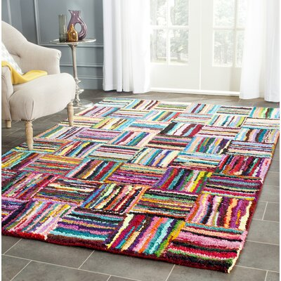 Castro Hand-Tufted Cotton Red/Blue Area Rug Rug Size: Rectangle 2' x 3'