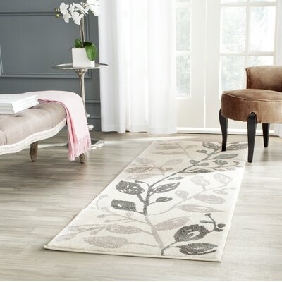 Rosario Ivory/Gray Area Rug Rug Size: Rectangle 2 x 37