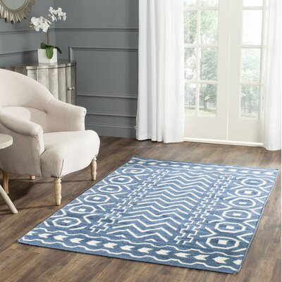 Dhurries Hand Woven Cotton Dark Blue/Ivory Area Rug Rug Size: Rectangle 6 x 9