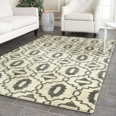 Longe Hand-Tufted Wool Beige/Gray Area Rug Rug Size: Rectangle 5 x 8