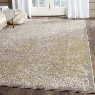 Auguste Gray/Green Area Rug Rug Size: Rectangle 4 x 57