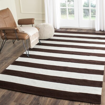 Kenia Hand-woven Chocolate/Ivory Area Rug Rug Size: Rectangle 3 x 5