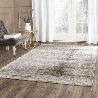 Rindge Brown/Ivory Floral Area Rug Rug Size: Rectangle 4 x 57
