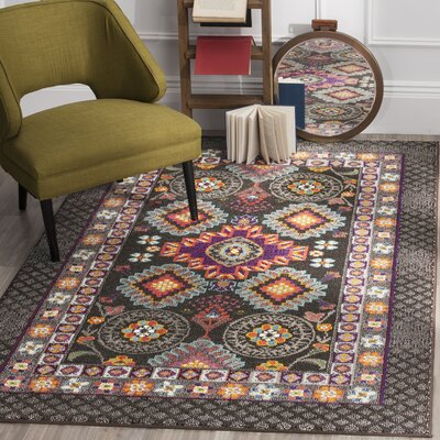 Elston Brown/Blue Area Rug Rug Size: Rectangle 51 x 77