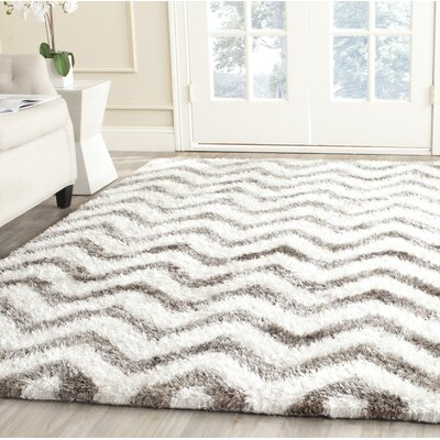 Hempstead Hand-Tufted Gray/White Area Rug Rug Size: Rectangle 3 x 5