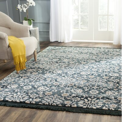 Zennia Turquoise/Cream Area Rug Rug Size: Rectangle 6 x 9