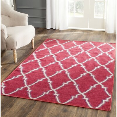 Danbury Hand-Woven Wool Red/Ivory Area Rug Rug Size: Runner 26 x 6