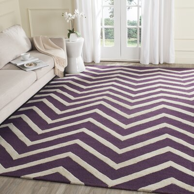 Charlenne Hand-Tufted Purple/Ivory Area Rug Rug Size: Rectangle 4 x 6