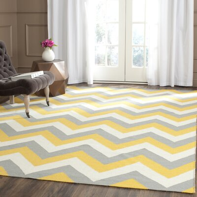 Dhurries Hand-Woven Cotton Chevron Area Rug Rug Size: Rectangle 5' x 8'