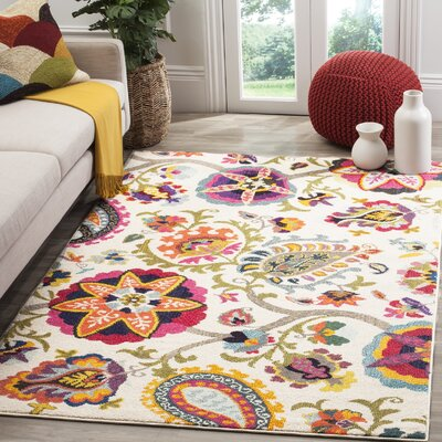 Ivory Area Rug Rug Size: Rectangle 51 x 77