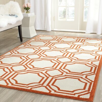 Maritza Ivory/Orange Indoor/Outdoor Area Rug Rug Size: Rectangle 3 x 5