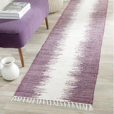 Lotie Hand-Woven Purple Area Rug Rug Size: Runner 23 x 7