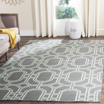 Dhurries Hand-Tufted Wool Gray/Ivory Area Rug Rug Size: Rectangle 4 x 6