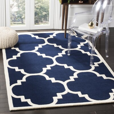 Wilkin Hand-Woven Dark Blue Area Rug Rug Size: Rectangle 4 x 6