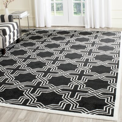 Waverly Place Black/Ivory Indoor/Outdoor Area Rug Rug Size: Rectangle 4 x 6