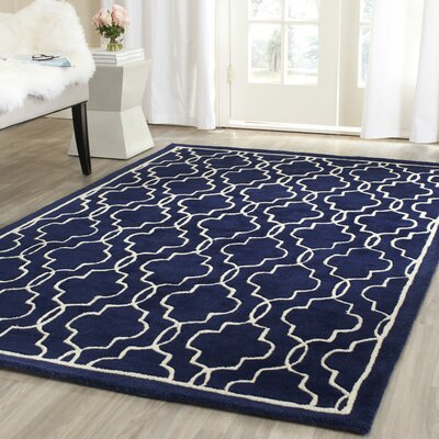 Wilkin Hand-Woven Dark Blue/Ivory Area Rug Rug Size: Rectangle 4 x 6