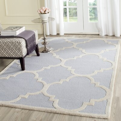 Charlenne Hand-Tufted Light Blue/Ivory Area Rug Rug Size: Rectangle 4 x 6