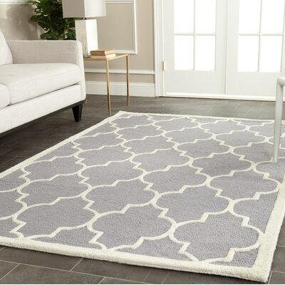 Martins Hand-Tufted Wool Gray/Ivory Area Rug Rug Size: Rectangle 6 x 9