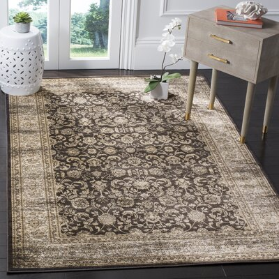 Vintage Black/Ivory Area Rug Rug Size: Rectangle 51 x 77
