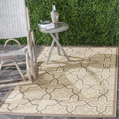 Octavius Cream/Brown Indoor/Outdoor Area Rug Rug Size: Rectangle 67 x 96