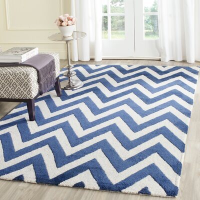 Hand-Tufted Wool Navy/Ivory Area Rug Rug Size: Runner 26 x 6
