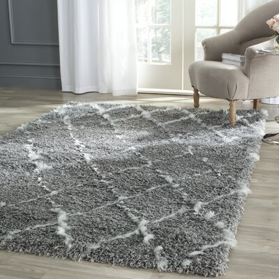 Armstead Geometric Contemporary Gray/Ivory Area Rug Rug Size: Rectangle 6 x 9