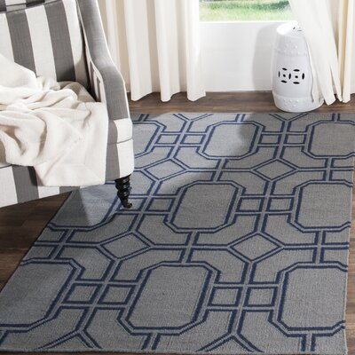 Dhurries Hand-Woven Wool Gray/Blue Area Rug Rug Size: Rectangle 3 x 5