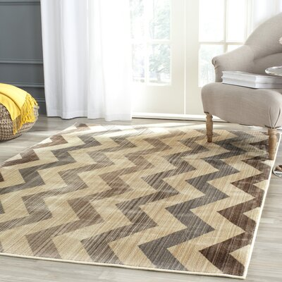 Infinity Chevron Brown/Beige Area Rug Rug Size: Rectangle 4 x 6