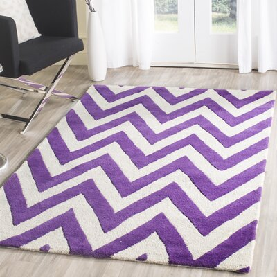 Charlenne Hand-Tufted Purple/Ivory Wool Area Rug Rug Size: Rectangle 4 x 6