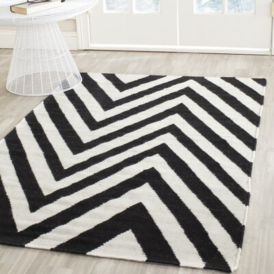 Dhurries Wool Hand-Woven Black/Ivory Area Rug Rug Size: Rectangle 4 x 6
