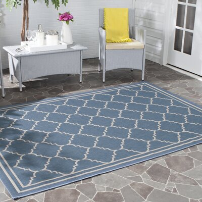 Short Blue Indoor/Outdoor Area Rug Rug Size: Rectangle 53 x 77