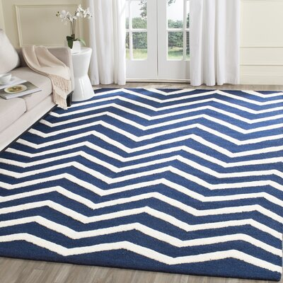 Charlenne Hand-Tufted Wool Blue/Ivory Area Rug Rug Size: Rectangle 4 x 6