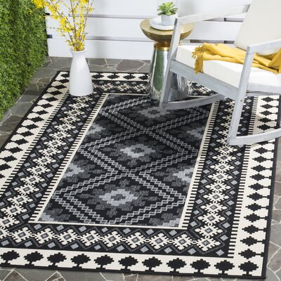 Tillis Black Outdoor Area Rug Rug Size: Rectangle 53 x 77