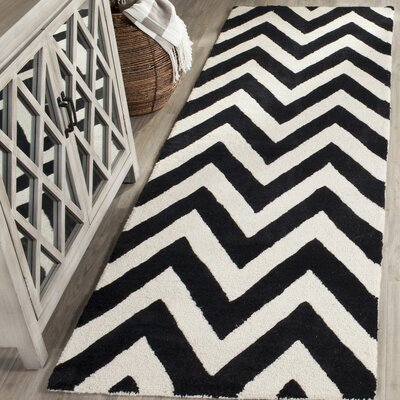 Daveney Hand-Tufted Wool Black/Ivory Area Rug Rug Size: Runner 26 x 8
