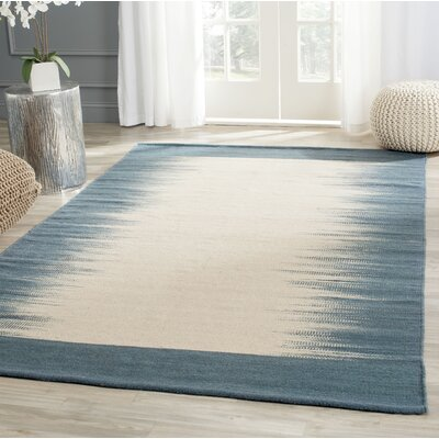 Kilim Hand-Knotted Wool Beige/Light Blue Area Rug Rug Size: Rectangle 5 x 8