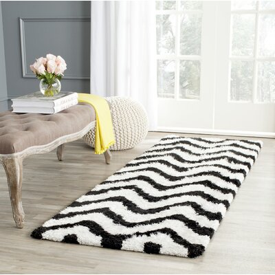Barcelona Shag Hand-Tufted Cotton White/Black Area Rug Rug Size: Rectangle 5 x 8