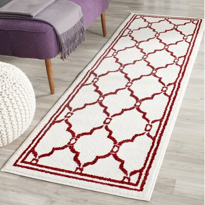 Maritza Ivory/Red Indoor/Outdoor Area Rug Rug Size: Runner 23 x 7