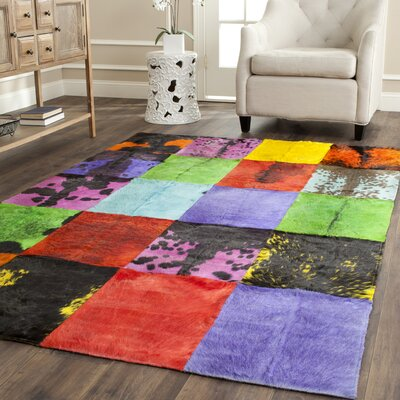 Latisha Hand-Woven Black/Red Area Rug Rug Size: Rectangle 8 x 10