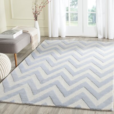 Charlenne Hand-Tufted Wool Light Blue/Ivory Area Rug Rug Size: Rectangle 4 x 6