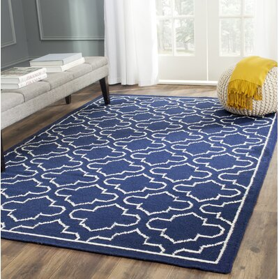 Dhurries Wool Navy/Ivory Area Rug Rug Size: Rectangle 4 x 6